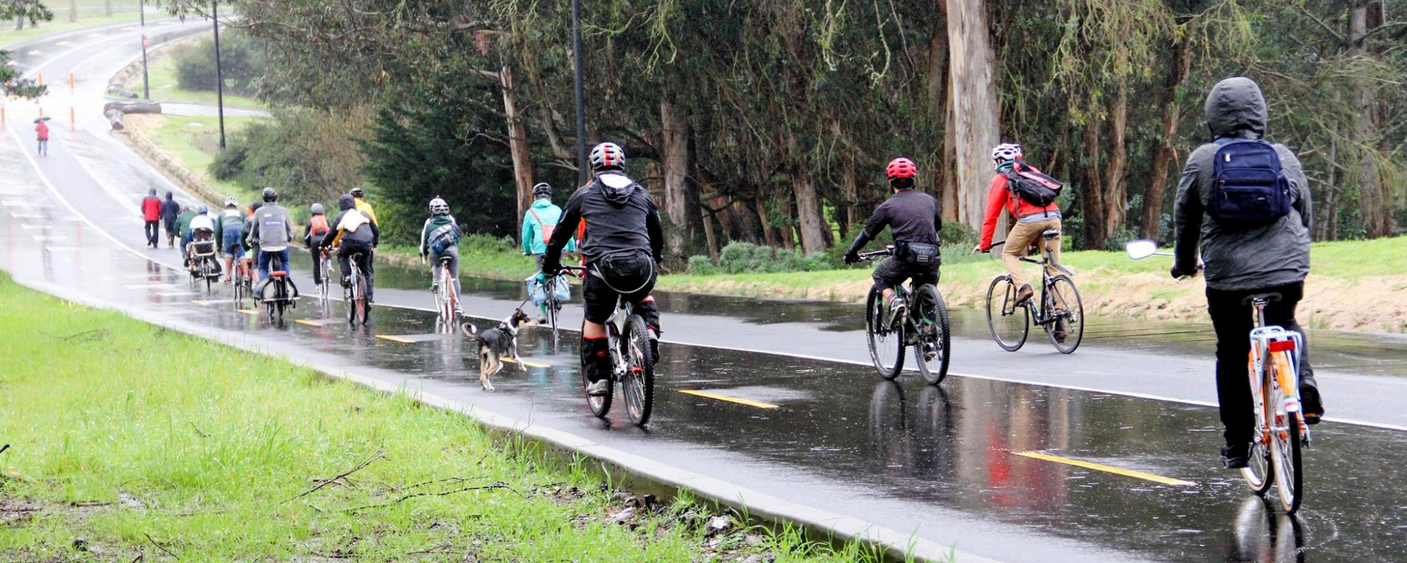 bikers on a rainy day on Mansell