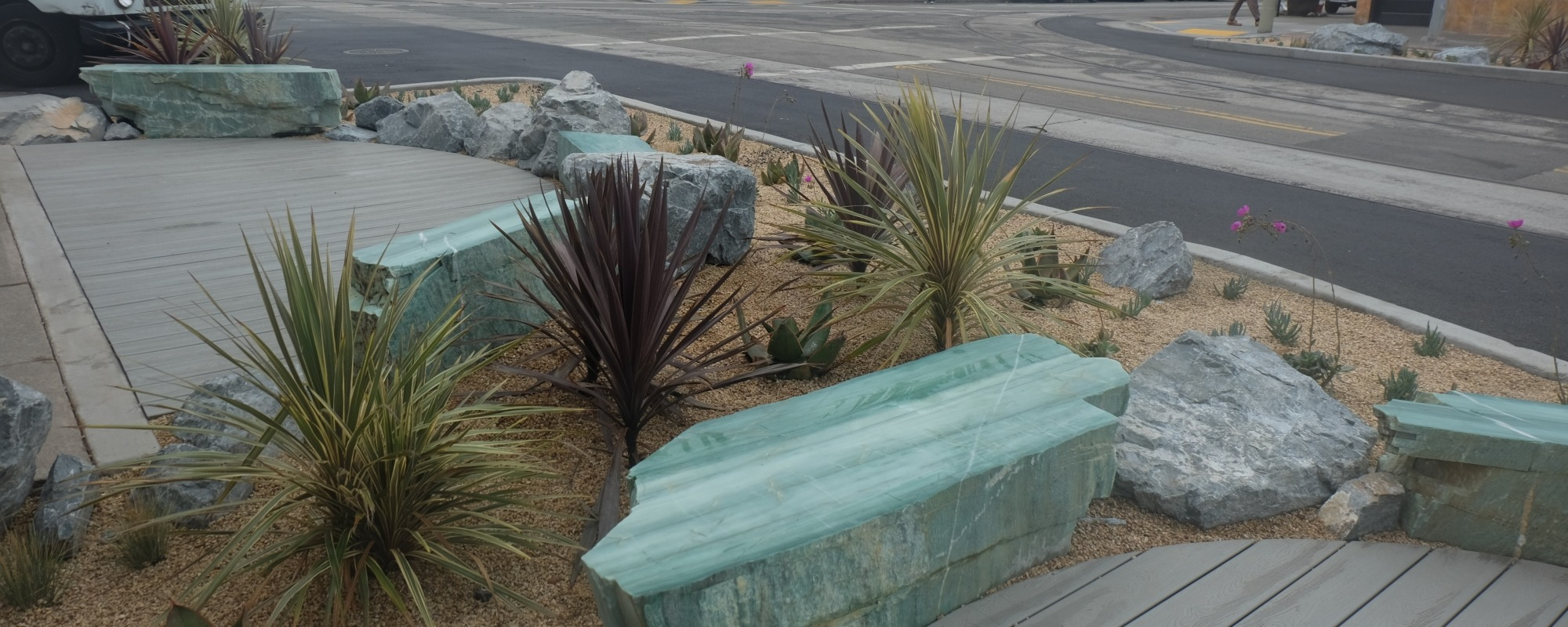 Taraval landscaping and seating